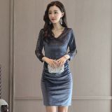 Price Retro Gold Velvet Autumn New Style Sheath Dress Silver Color Online China