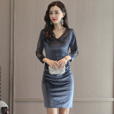 For Sale Retro Gold Velvet Autumn New Style Sheath Dress Silver Color