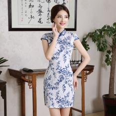 Cheapest Vintage Jacquard New Style Slim Fit Dress Cheongsam Blue Flower Online