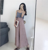 Review Retro Korean Chic Style Handmade Crochet Sling Small Vest Purple Color Bra Piece Big Swing Wide Leg Pants Female Purple Color Piece Pants Oem