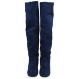 Buy Retro Pure Color Round Toe Ladies Suede Knee Boots Deep Blue Intl Oem Original