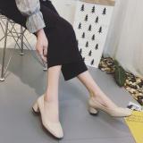 Discount Retro Semi High Heeled Grandma Shoes New Style Shoes Beige China