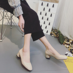 Cheap Retro Semi High Heeled Grandma Shoes New Style Shoes Beige