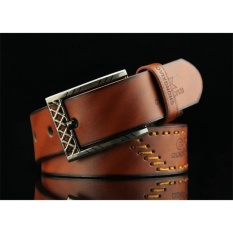 Retro style men Genuine cow Leather belt For Jeans Suit Street - intl