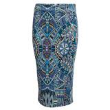 List Price Retro Style Sheathy Midi Skirt High Waist Printed Women Light Blue Intl Oem