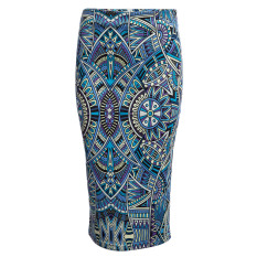 Retro Style Sheathy Midi Skirt High Waist Printed Women Light Blue Intl Sale
