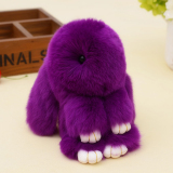 Rex Rabbit Fur Keychain 18Cm Cute Real Rabbit Fur Key Chain Pendant Bag Ornaments Toy Wallet Car Pendant Purple Intl Discount Code