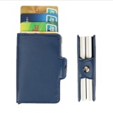 Buy Rfid Aluminum Leather Men Wallet Card Id Holders Wallet Case Credit Protector Blue Intl