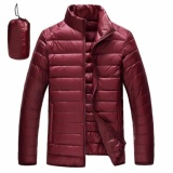 Buy Rhs Online Ultralight Down Jackets Men S Stand Collar Duck Light Thin Autumn Winter Solid Casual Coat Men Outwear(Wine Red) Intl On China
