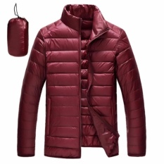 Buy Rhs Online Ultralight Down Jackets Men S Stand Collar Duck Light Thin Autumn Winter Solid Casual Coat Men Outwear(Wine Red) Intl Oem Original