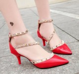 Price Rivet Sandals Women S Shoes Baotou Word Buckle Fine With Pointed Hollow High Heels 6Cm Intl Roonasn Online