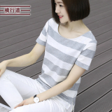 Price Female Short Sleeved Rampant Road New Style Loose Blue And White T Shirt Summer Gray Gray Oem New