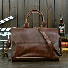 Get Cheap Korean Style Crazy Horse Leather Shoulder Messenger Briefcase Tide Bag Black