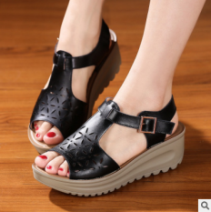 Sale Roman Leather Female With Flat Women S Shoes Sandals Black Online China