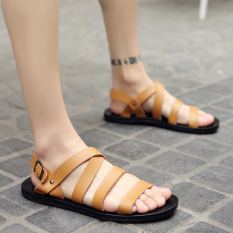 Men S Korean Style Stylish Big Size Roman Sandal Light Brown Light Brown Coupon Code
