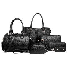 The Cheapest Rose Tote With Pouch Ladies Bag Peony Jet Black Six Pieces Set Peony Jet Black Six Pieces Set Online