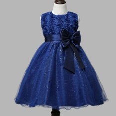 Rose Flower Kids Girls Sleeveless Princess Party Dress Bow Wedding Bridesmaid Christening Gown Dresses Intl Lower Price