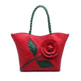 Review Rose Flowers Handbag Large Woven Bag Shoulder Bag Messenger Red Intl China