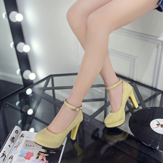 Coupon Round A Line Buckle Patent Leather Princess Shoes Korean Style Shoes Gold