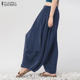 S 3Xl Zanzea Women Mid Waisted Casual Loose Long Long Trousers Summer Ladies Wide Leg Party Club Harem Pants Plus Size (Navy) Intl Lower Price