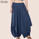Who Sells S 3Xl Zanzea Women Mid Waisted Casual Loose Long Long Trousers Summer Ladies Wide Leg Party Club Harem Pants Plus Size (Navy) Intl The Cheapest