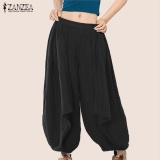 S 3Xl Zanzea Women Mid Waisted Casual Loose Long Long Trousers Summer Ladies Wide Leg Party Club Harem Pants Plus Size (Black) Intl Online