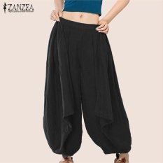 Low Cost S 3Xl Zanzea Women Mid Waisted Casual Loose Long Long Trousers Summer Ladies Wide Leg Party Club Harem Pants Plus Size (Black) Intl