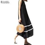 Lowest Price S 5Xl Zanzea Women Ladies Summer Casual Crew Neck Sleeveless Striped Loose Maxi Long Dress Sundress Vestidos(Black) Intl