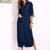 Best Rated S 5Xl Zanzea Women Long Sleeve Buttons Down Shirt Dress Denim Blue Split Asymmetrical Long Dress Plus Size Dark Blue Intl