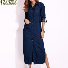 Top 10 S 5Xl Zanzea Women Long Sleeve Buttons Down Shirt Dress Denim Blue Split Asymmetrical Long Dress Plus Size Dark Blue Intl