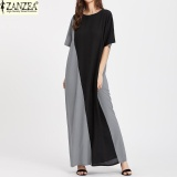 Where Can I Buy S 5Xl Zanzea Women Oversized Summer Crew Neck Batwing Sleeve Casual Maxi Long Dress Stitching Kaftan Sundress Blk Grey Intl
