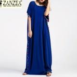 Discounted S 5Xl Zanzea Women Pom Trim Batwing Short Sleeve Vintage Summer Maxi Long Dress Casual Robe Party Kaftan Oversized Blue Intl