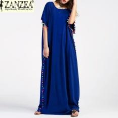 Recent S 5Xl Zanzea Women Pom Trim Batwing Short Sleeve Vintage Summer Maxi Long Dress Casual Robe Party Kaftan Oversized Blue Intl