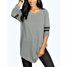 Top Rated S 5Xl Zanzea Women S Round Neck Long Sleeve Stripe Splice Blouse Shirt Tops Plus Size (Grey) Intl