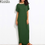 S 5Xl Zanzea Womens Summer Crew Neck Short Sleeves Kaftan Vestido Ladies Sundress Beach Casual Solid Loose Maxi Long Dress Green Intl Compare Prices
