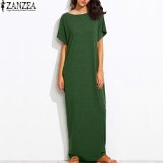 S 5Xl Zanzea Womens Summer Crew Neck Short Sleeves Kaftan Vestido Ladies Sundress Beach Casual Solid Loose Maxi Long Dress Green Intl Online