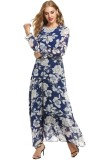 Sale At Breakdown Price Cyber Big Discount Women Chiffon O Neck Long Sleeve Floral Print Long Maxi Party Beach Dress Blue Intl Cheap