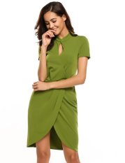 Compare Prices For Sale At Breakdown Price Cyber Low Profit Women S Stand Collar Short Sleeve Keyhole Faux Wrap Split Bodycon Dress Army Green Intl