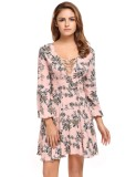 Sale At Breakdown Price Cyber Sales Women Lace Up V Neck Long Sleeve Floral Print Fit And Flare Casual Dress Pink Intl Price Comparison