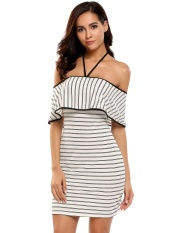 Price Comparisons Of Sale At Breakdown Price Cyber Women S*xy Slash Neck Off Shoulder Ruffle Brim Striped Tunic Package Hip Dress White Intl