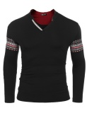 Discounted Sales Men Ethnic Style Long Sleeve V Neck Print Slim Pullover T Shirt Black Intl