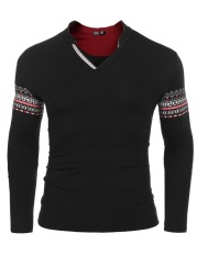 Sales Men Ethnic Style Long Sleeve V Neck Print Slim Pullover T Shirt Black Intl Compare Prices