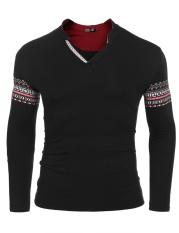 Cheapest Sales Men Ethnic Style Long Sleeve V Neck Print Slim Pullover T Shirt Black Intl