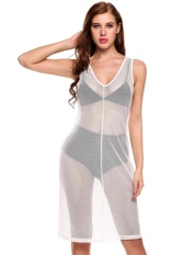 Sales Sunwonder New Women Casual V Neck Sleeveless Net Hollow Out See Through Elastic Cover Up Dress Intl Coupon