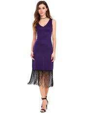 Where To Shop For Sales Sunwonder Women V Neck Sleeveless Solid Fringed Midi Dress Intl