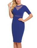 Sales Women Fashion O Neck Short Sleeve Mesh Patchwork Bodycon Slim Pencil Dress Royal Blue Intl Lower Price