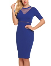 Coupon Sales Women Fashion O Neck Short Sleeve Mesh Patchwork Bodycon Slim Pencil Dress Royal Blue Intl
