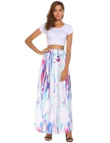 Retail Price Sales Women High Elastic Waist Vintage Style Maxi Long Skirt Lace Up Casual Beach Floral Intl
