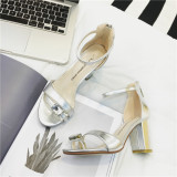 Review Shoes Summer Thick With Sleeve Toe New Style Diamond Sandals Silver Silver Singapore