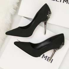 Best Sanding Single Shoes Women S Shoes Wedding Shoes Hollowed Out Suede Pointed High Heel Black Shoes Intl